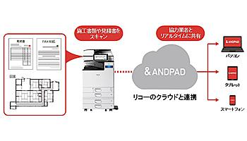 リコー、クラウド対応複合機が施行管理アプリと連携、建築業向け製品を追加